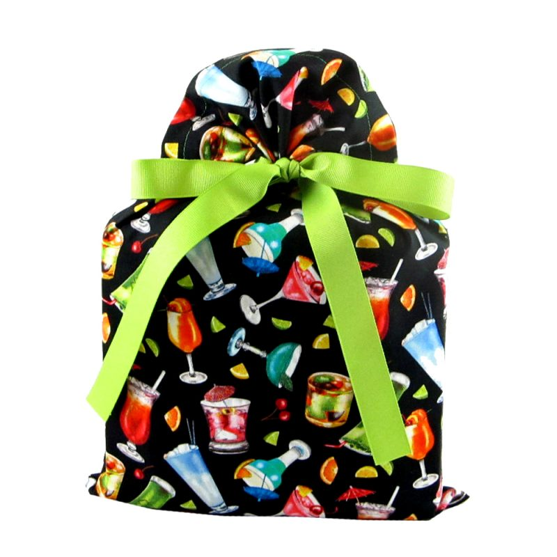 Black fabric gift bag with colorful cocktails