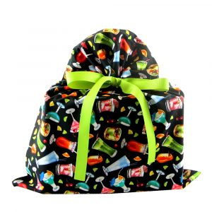 black fabric gift bag with colorful cocktails and attached ribbon