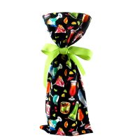 black wine bottle bag with colorful cocktails and attached ribbon