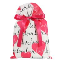 pink hearts and the word love on a white gift bag with pink satin ribbon