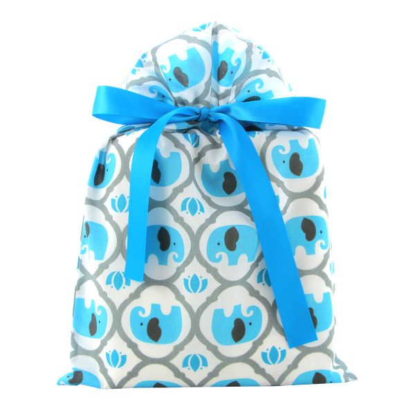 Turquoise-Elephants-Reusable-Fabric-Gift-Bag-for Baby-Shower-