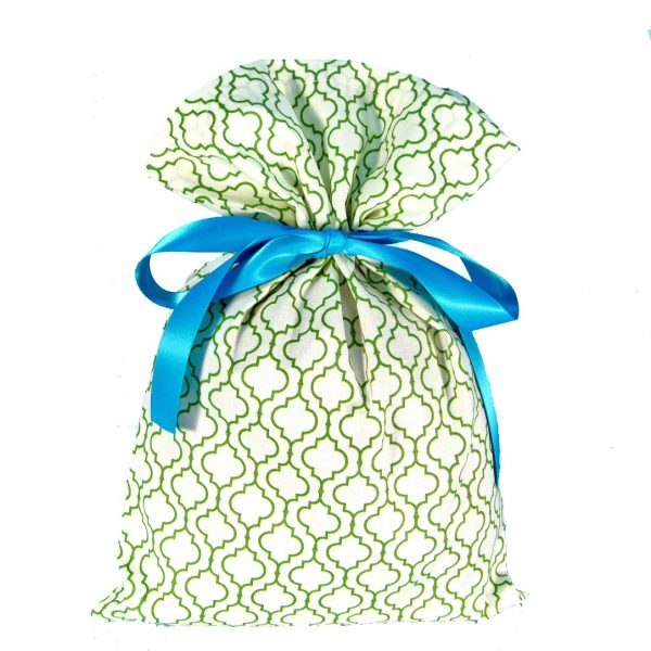 green and white lattice patterned fabric gift bag with turquoise ribbon