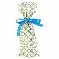 green and white geometric pattern wine bottle bag with blue satin ribbon
