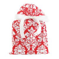 red and white damask cloth gift bag with white satin ribbon