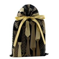 Black gift bag with pattern of neck ties