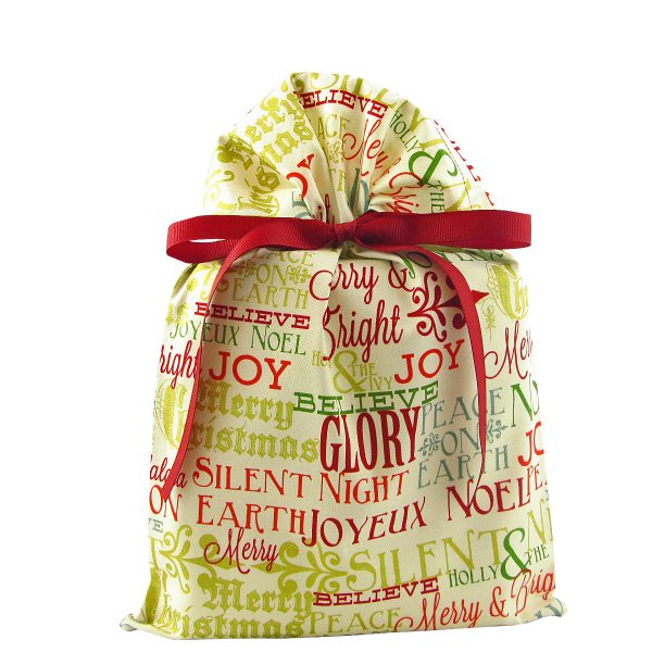 Standard sized Christmas Greetings gift bag ivory with metallic accents