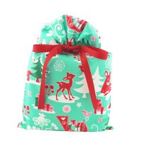 Blue Christmas bag with woodland animals