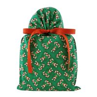 Green Fabric gift bag with candy canes standard size