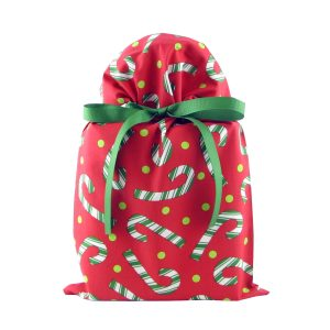 Red fabric gift bag with candy canes and green ribbon