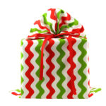 Large white fabric gift bag with green and white stripes