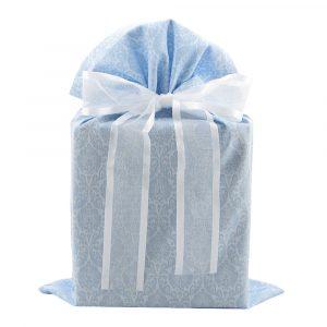 Steel Blue Damask fabric gift bag
