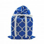 Royal-blue-fabric-gift-bag-with-white-quatrefoils