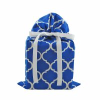 Royal-blue-fabric-gift-bag-with-white-quatrefoils