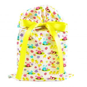 Chicks-and-bunnies-on-white-fabric-gift-bag-standard-size