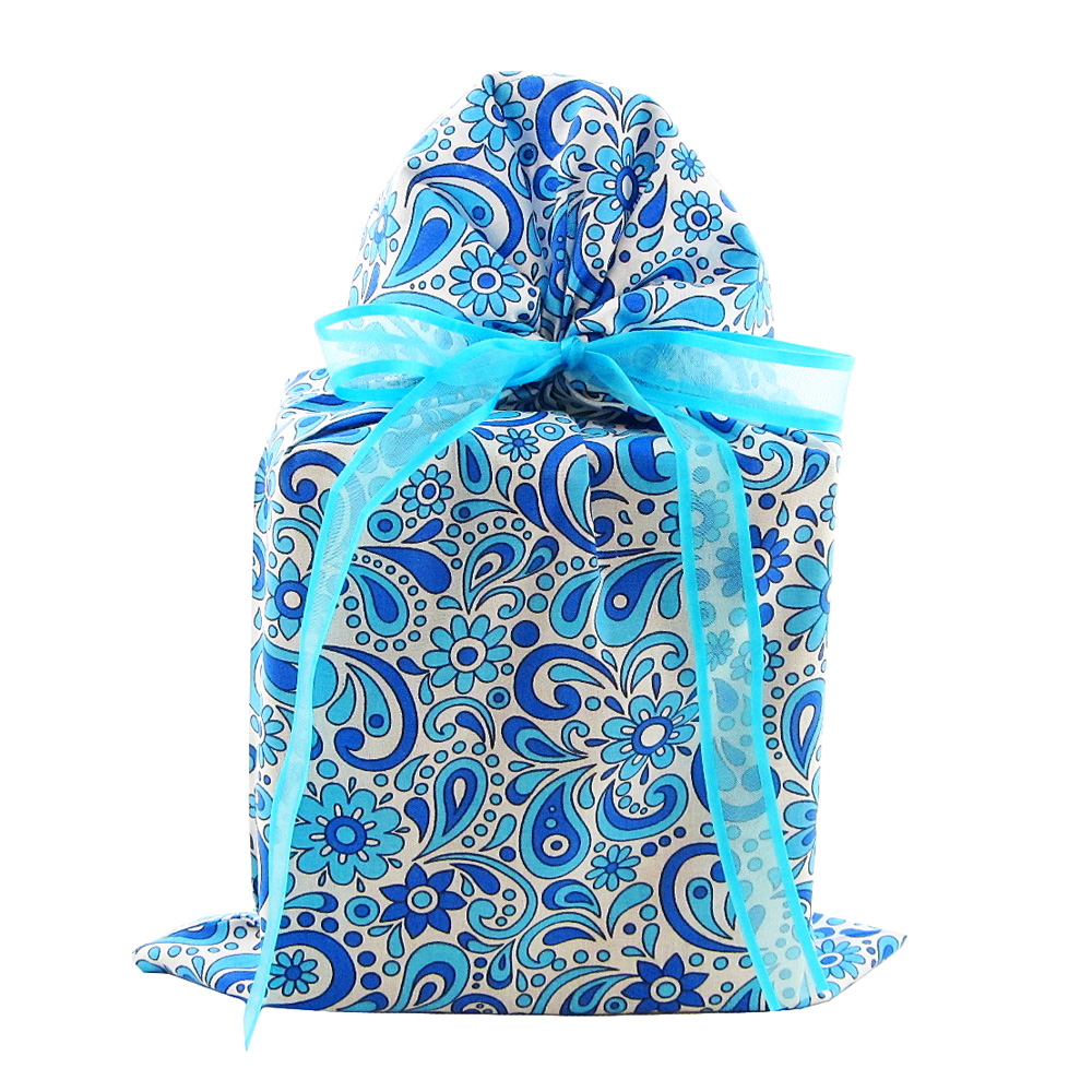 Blue-flowers-and-swirls-reusable-fabric-gift-bag