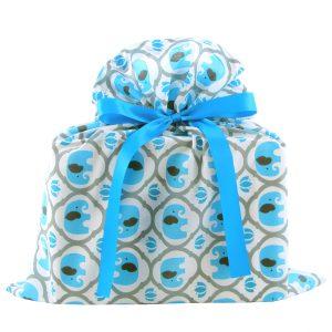 Medium-Turquoise-Elephants-Fabric-Gift-Bag-Baby-Shower