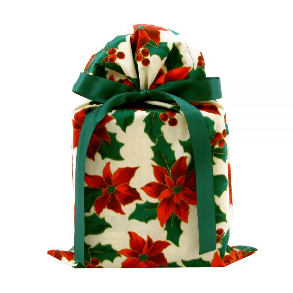 Poinsettia-gift-bag-with-green-ribbon