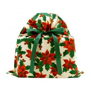 Poinsettias-fabric-gift-bag-medium-with-green-ribbon