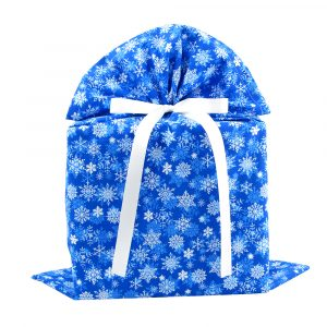 Snowflakes-Gift-Bag-Large-Blue-with-White-Ribbon
