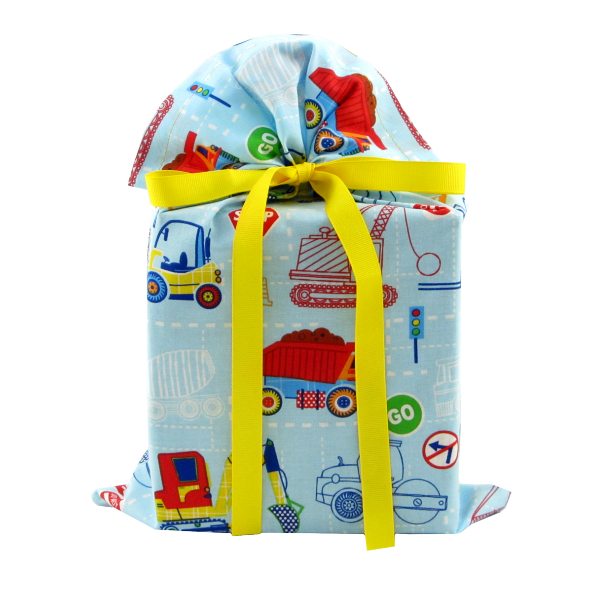 Construction-trucks-blue-reusable-fabric-gift-bag