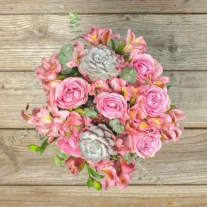 Pink Rose & Succulent Bouqet from Bouqs