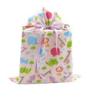 Large-pink-jungle-animals-cloth-gift-bag