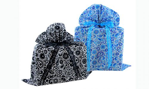 Flowers & Swirls gift bags in Black and Blue