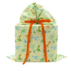 Large-reusable-baby-dinosaur-gift-bag-green