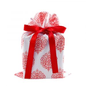 Red and white damask gift bag standard