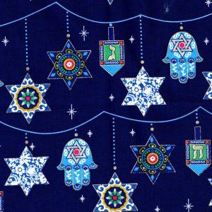 Swatch of Blue Hanukkah Gift Bag Fabric