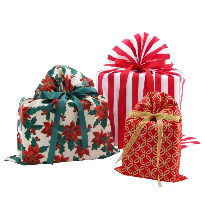 Set of three elegant Christmas gift bags