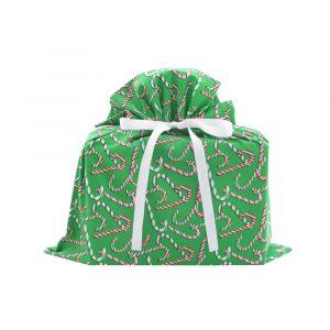 Medium Candy Canes Gift Bag Green Cotton
