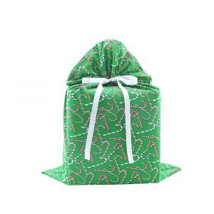 Candy Canes Gift Bag Large Green Reusable