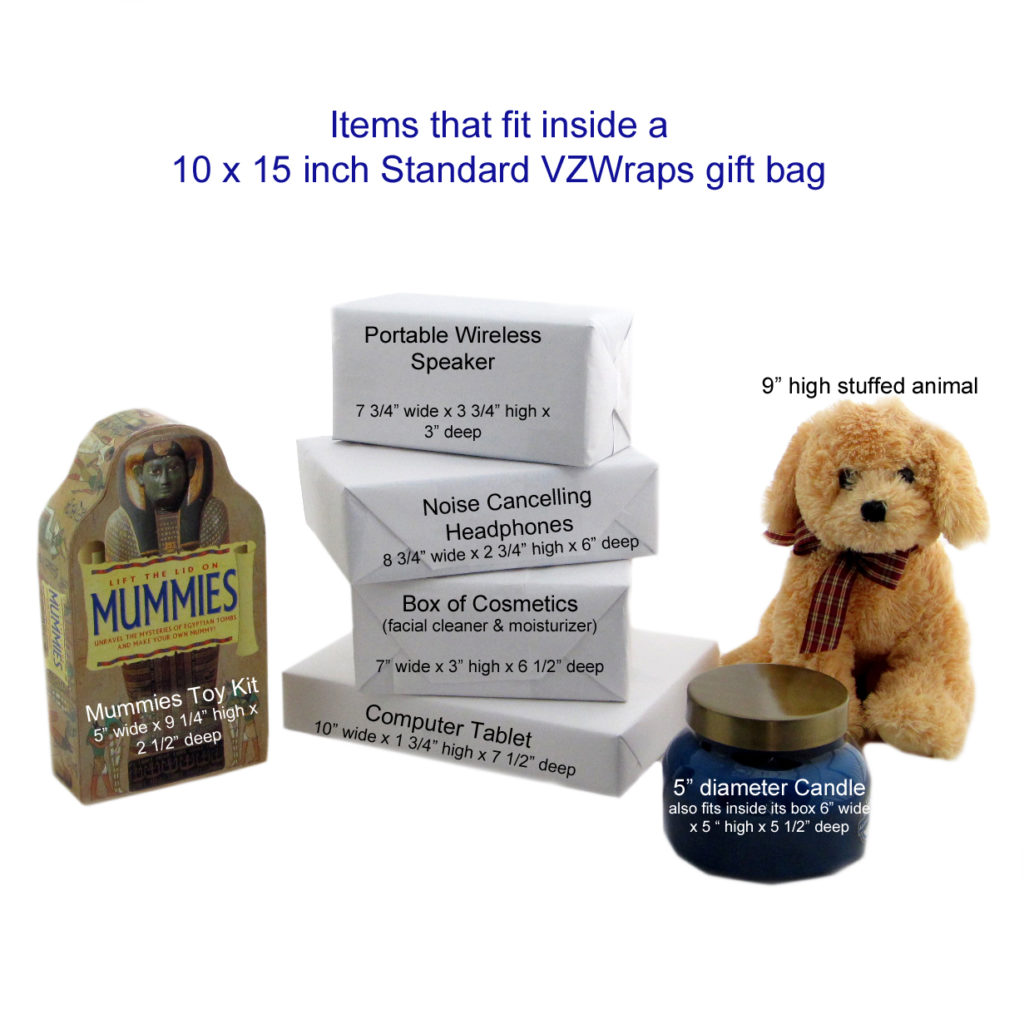 Sample gifts that fit inside a standard VZWraps gift bag