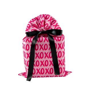 Pink Fabric Gift Bag with XOXO print Standard