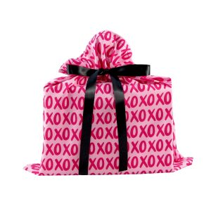 Medium Pink Cloth Gift Bag with XOXO Print