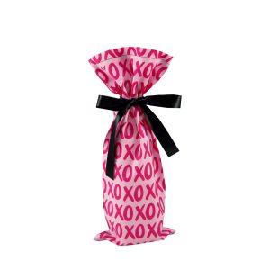 Pink Wine bag with XOXO print