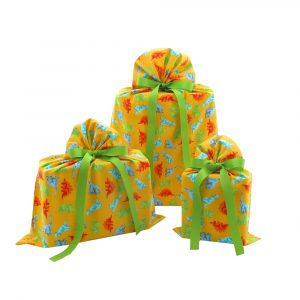 Trio of yellow dinosaur gift bags