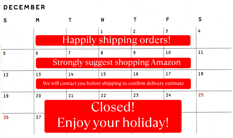 December 2021 shipping schedule for VZWraps