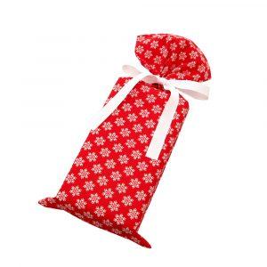 Snowflakes-Red-Skinny-gift-bag